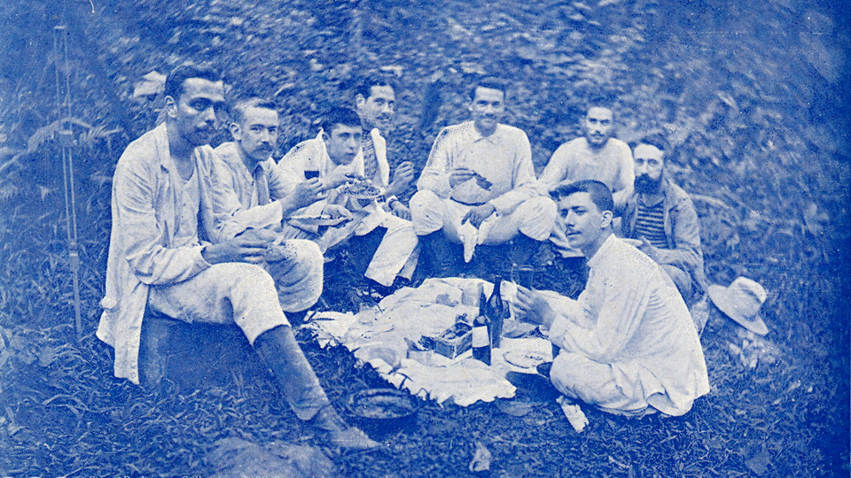 Colonial Picnic in Fernando Póo [detail, color by K+S] / c.1903 / published by Imp. Elzeviriana, Barcelona, Spain. / © Casas-Rodríguez Collection.  Some rights reserved .