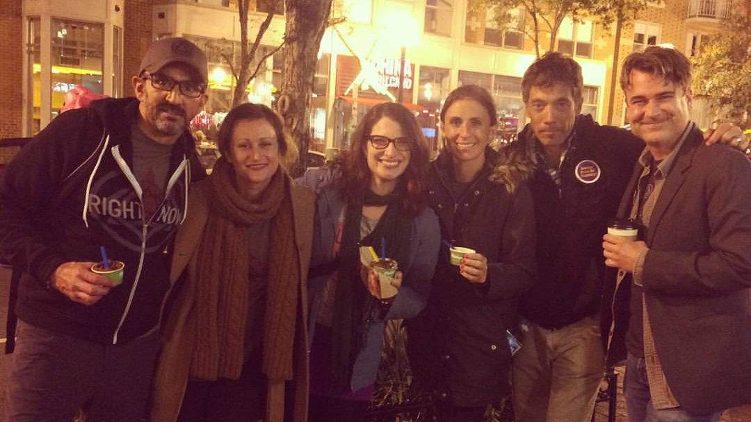 United to face the camera: (L2R)Yours truly, Holly W. of Hip Sobriety, LAURA!, Laura McK. of I Fly at Night, Jeff and Matt of the Since Right Now Pod / Washington, DC / October 4,2015