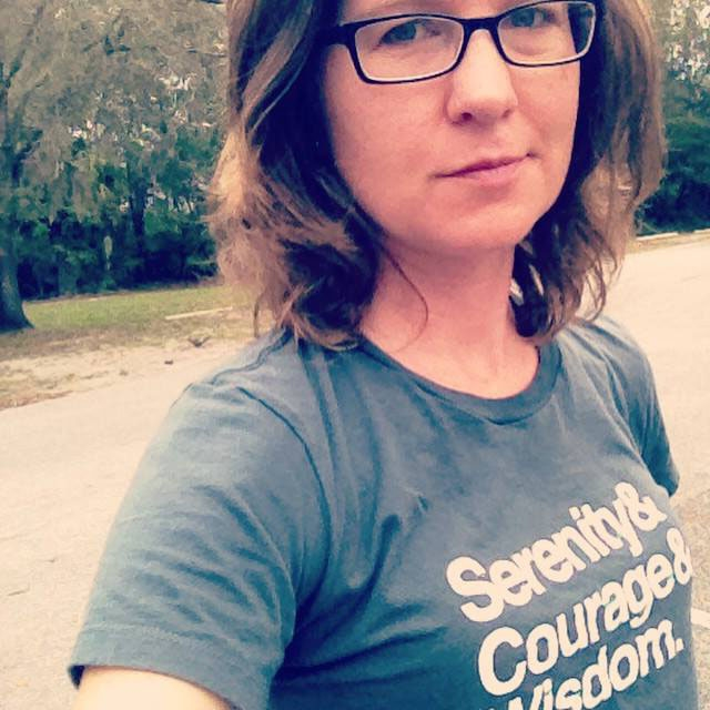 """Kendra in the """"Serenity Prayer"""" T by Rocket Designs. Click Image to purchase."""