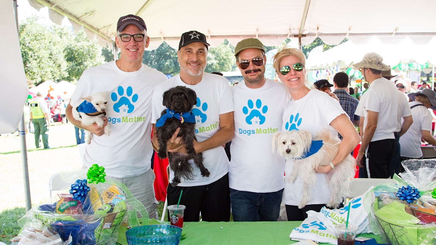 """To have a program like Dogs Matter across the nation and the world. [And a cool house…and some money…and more dogs.]""  Stephen (Second from left, holding Jayde) with Dogs Matter volunteers at Life Walk 2016 in Dallas, TX"