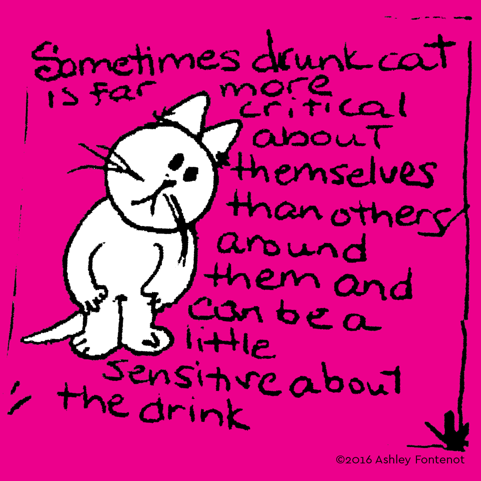 Drunk Cat Is Sensitive about the Drink