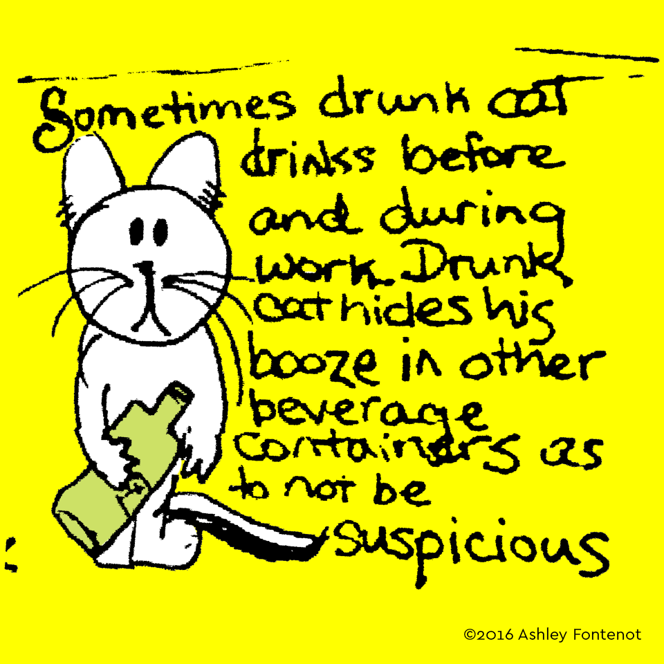 Drunk Cat Hides His Drinking on the Job