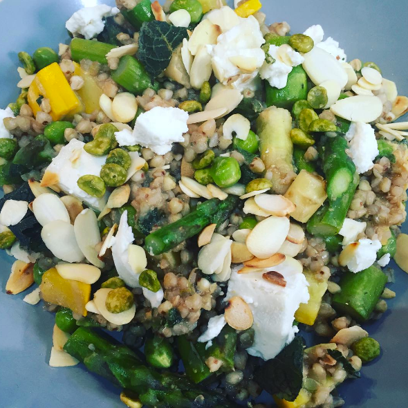 Asparagus, Pea and Mint Risotto,  Made with Buckwheat. Crumbled Goats Cheese and Toasted Almonds.