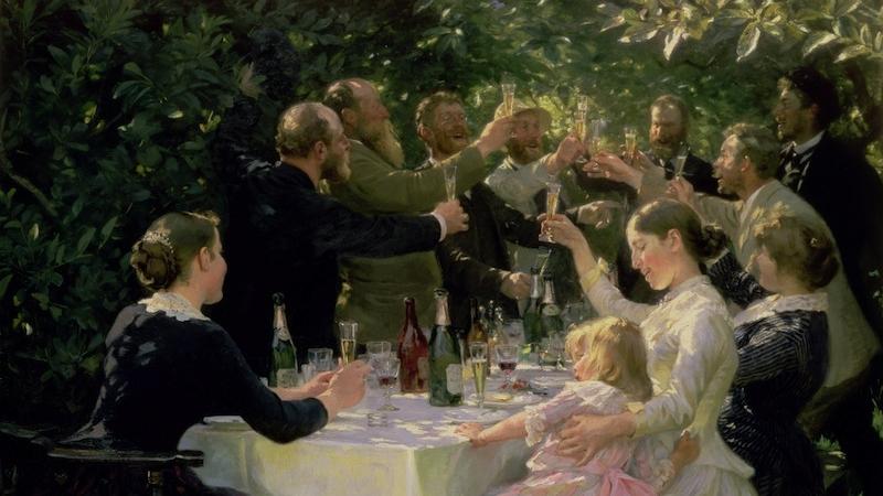 'Hip Hip Hurrah!' Artists' Party at Skagen, 1888, Peder Severin Kroyer (1851–1909). Goteborgs Konstmuseum, Sweden