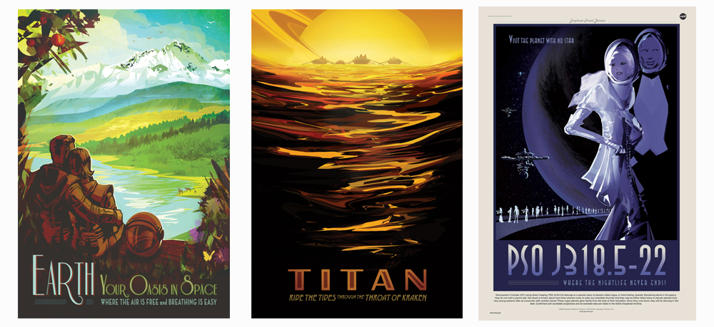 JPL / NASA Travel Posters FULL ARTWORK --  http://www.jpl.nasa.gov/visions-of-the-future/   Creative Director- Dan Goods; Art Director- David Delgado