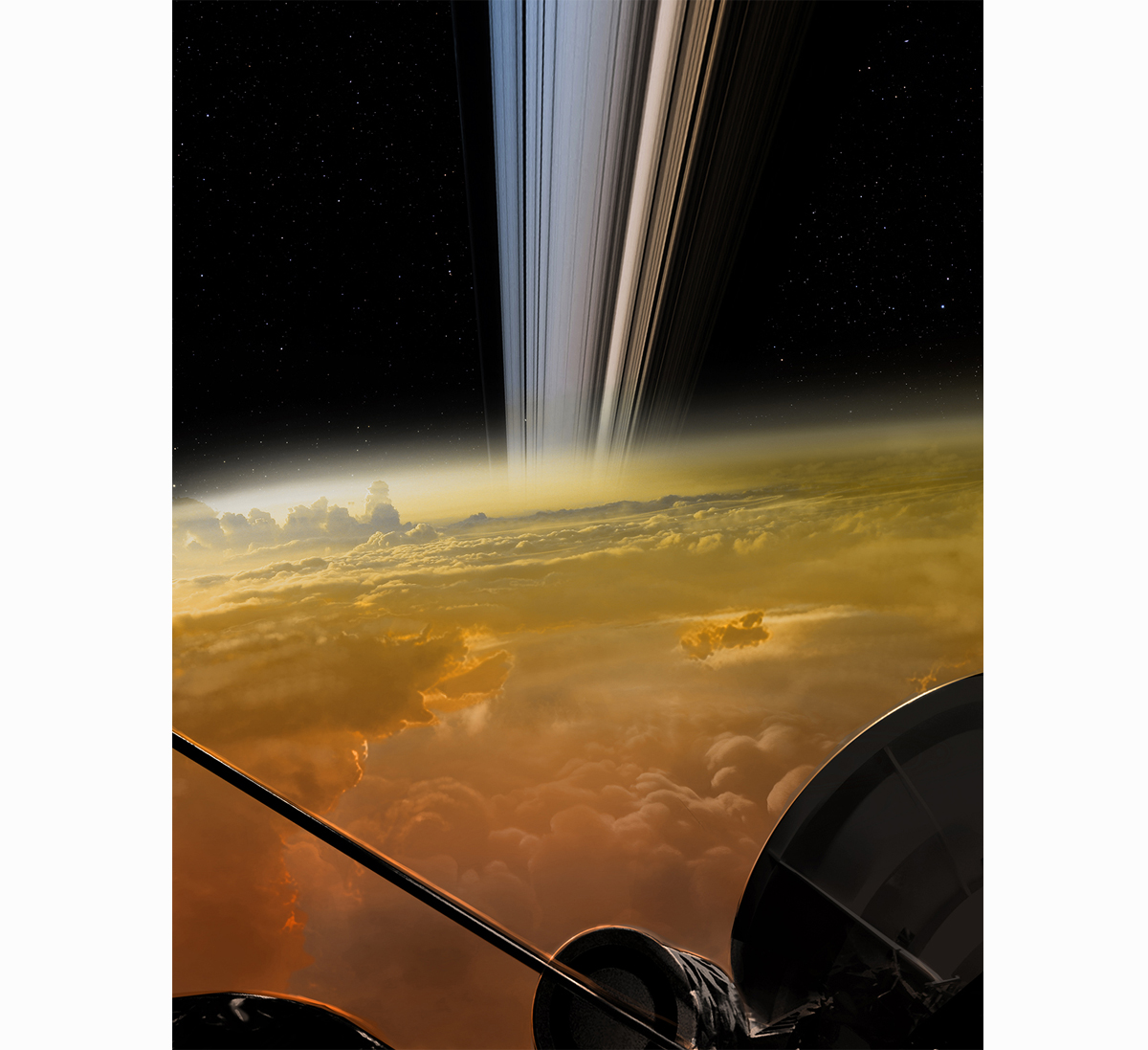 Image I created for the Cassini Mission team to help communicate what would happen in the final moments before the spacecraft took a final dive into Saturn's atmosphere. https://saturn.jpl.nasa.gov/