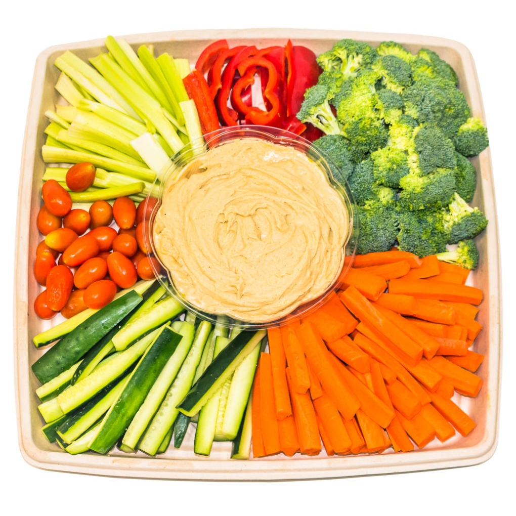 Happy Hummus Platter - With The Real Coconut Tortilla Chips $35With an Assortment of Organic Veggies $45
