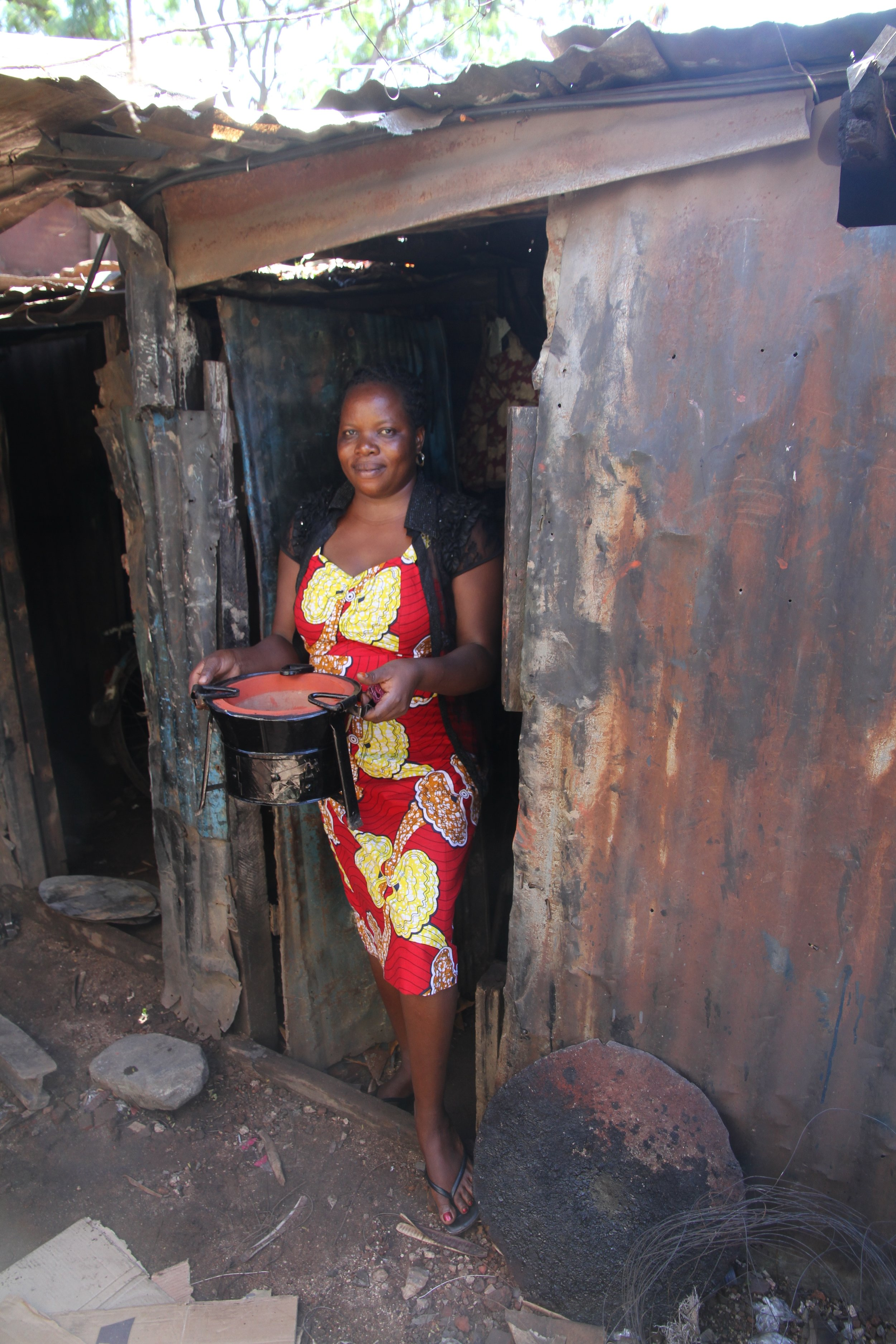With one of her stoves