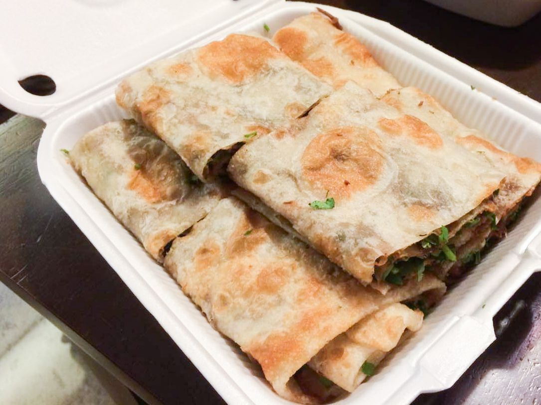 Beef rolls (beef wrapped in a scallion pancake) at 101 Noodle Express