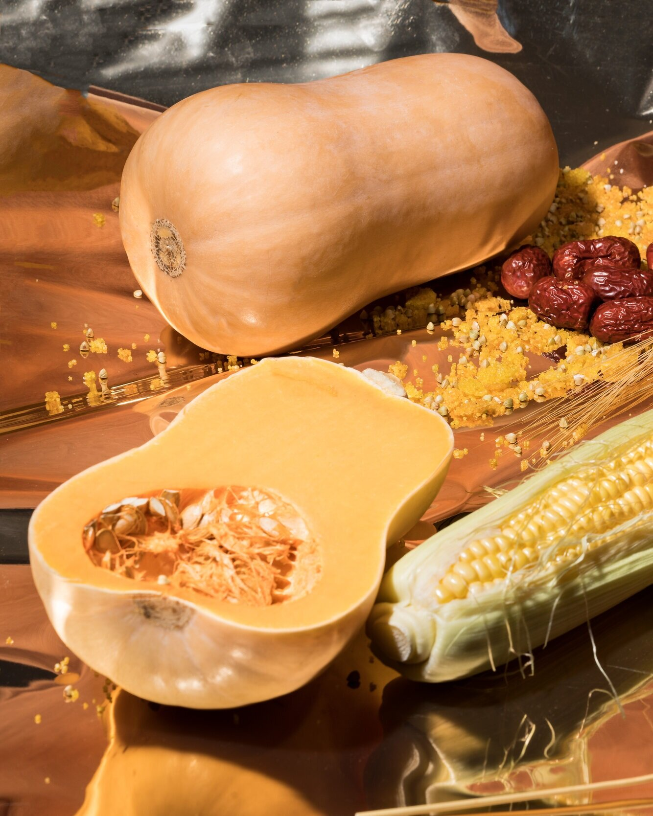 taste the season  Roasted to bring out natural sweetness, butternut squash adds a creamy richness to a leafy salad that's elevated by the crunchiness of toasted grains. Red dates—also a symbol of autumn—are the base for the honeyed dressing.