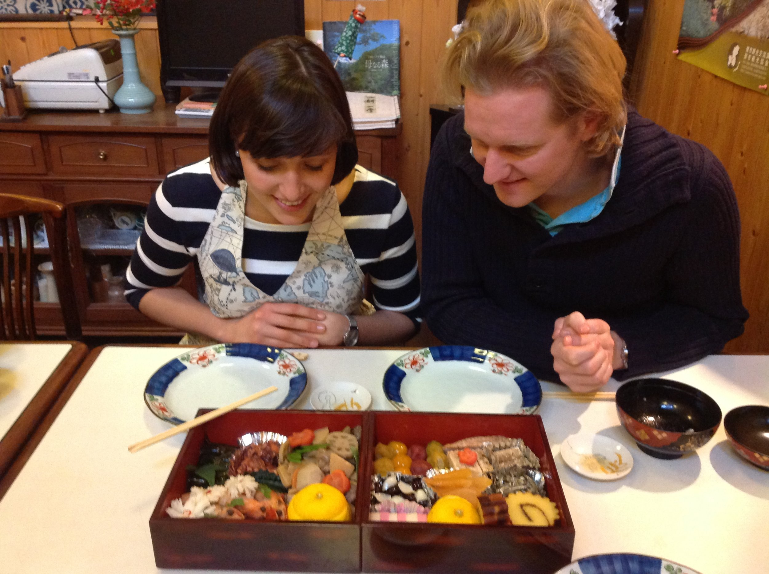 """We had a great 1st January with soup, 24 different specialties, """" BleigieBen """", tea and mirin. Hopefully we can come back soon!!  Arigato, 1st January 2014 Lufthansa Captain Thies and his partner/cabin crew Tine"""