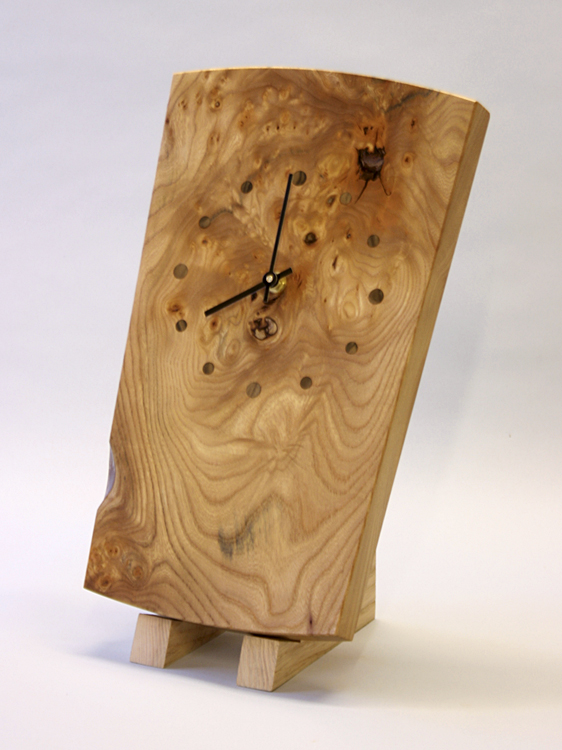 Burr elm wall clock