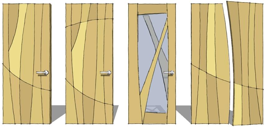Four designs of door: two versions of a Panelled Wood Door, a Glazed Wood Door and Pairs of Wardrobe Doors