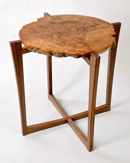 Mid century side table with burr elm top