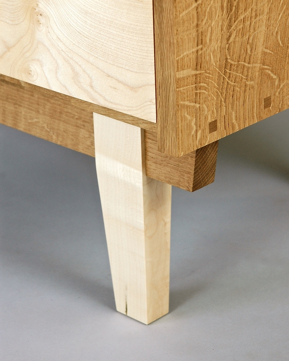 Mid century inspired leg detail on chest of drawers