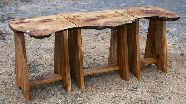 The original commission piece coffee table / side table / stool hybrid with solid panel legs.