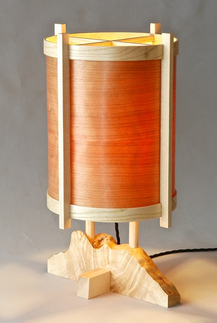Cherry wood veneer lamp
