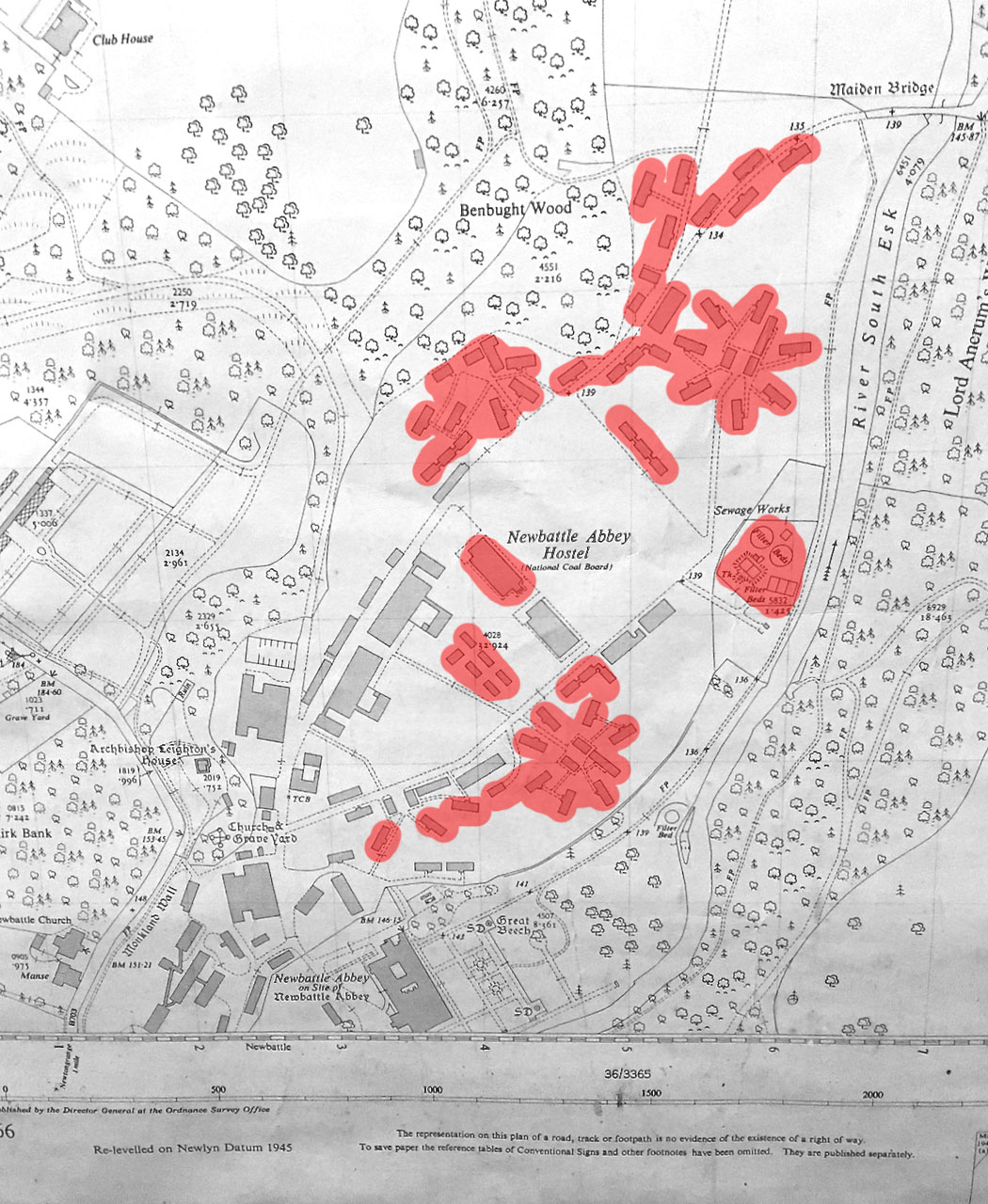 Camp layout now showing buildings that no longer stand. Some of those left are empty shells…