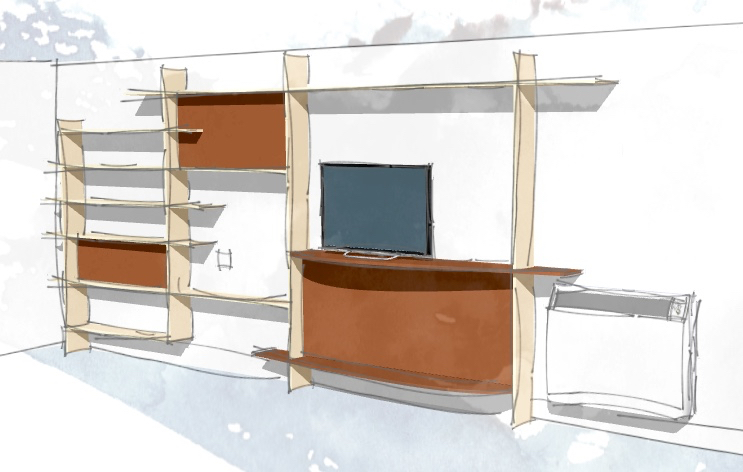 Sketchup model of the shelves with 'sketchy' render.