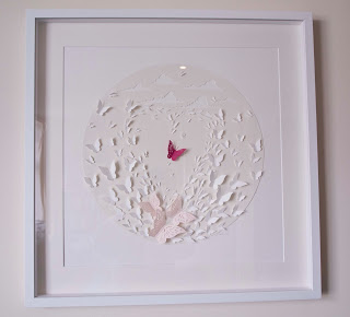 A very special commission for a family who lost their little angel.  This piece is in memory of ayoung girl who loved to chase butterflies and who loved the colour pink. It was an honour to be able to create a piece of artwork that means so much to the family.