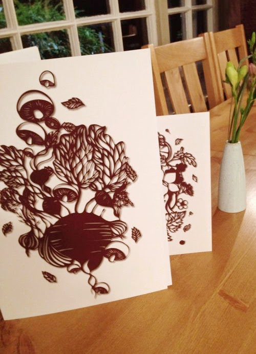 These foodie paper-cut illustrations were commissioned for my family's newly opened restaurant The Rose and Crown. These design have been printed on the menu covers, hopefully you can guess which one is the main, dessert and drinks.
