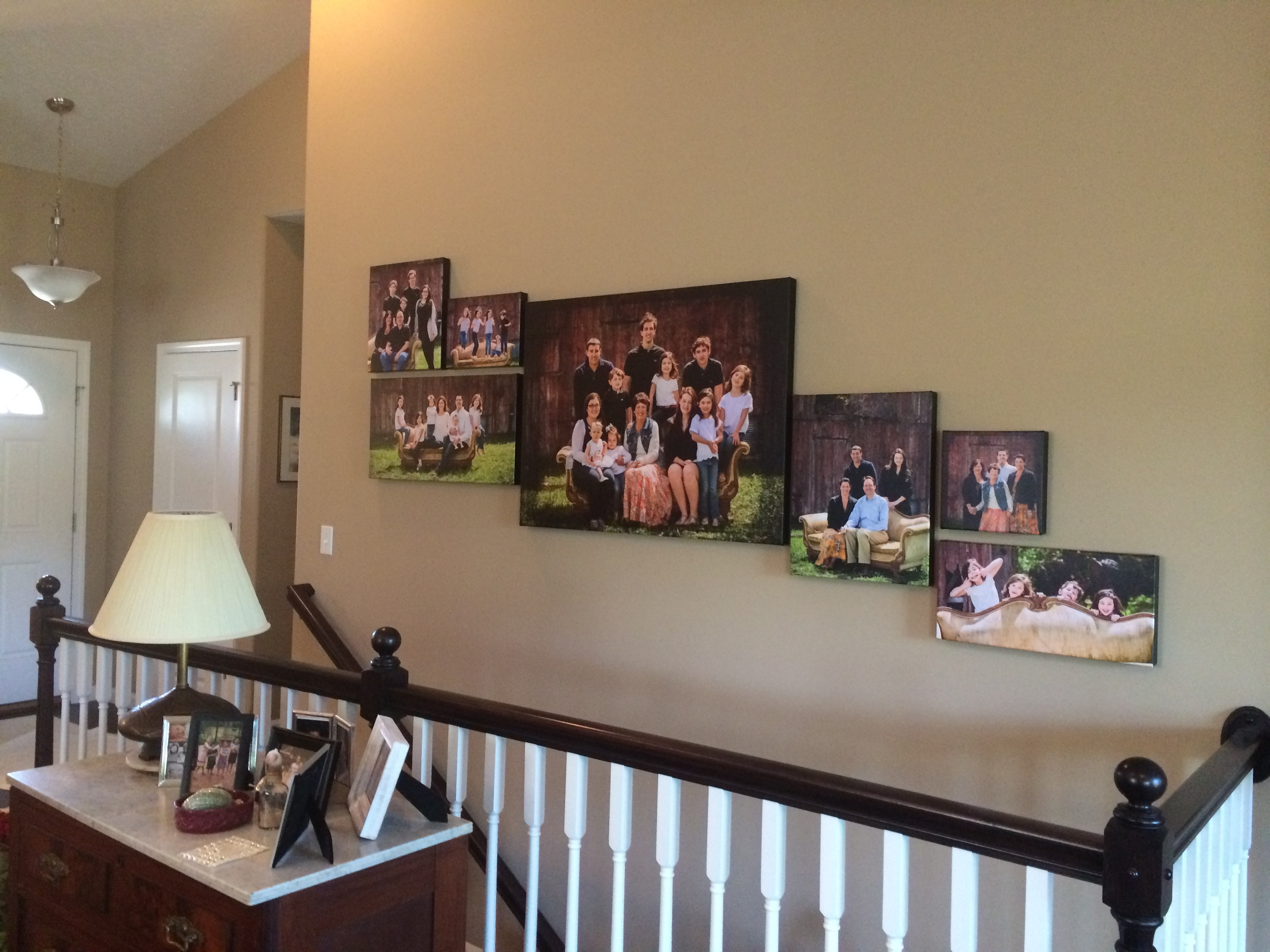 multiple canvas portrait configuration designed to fit the space perfectly