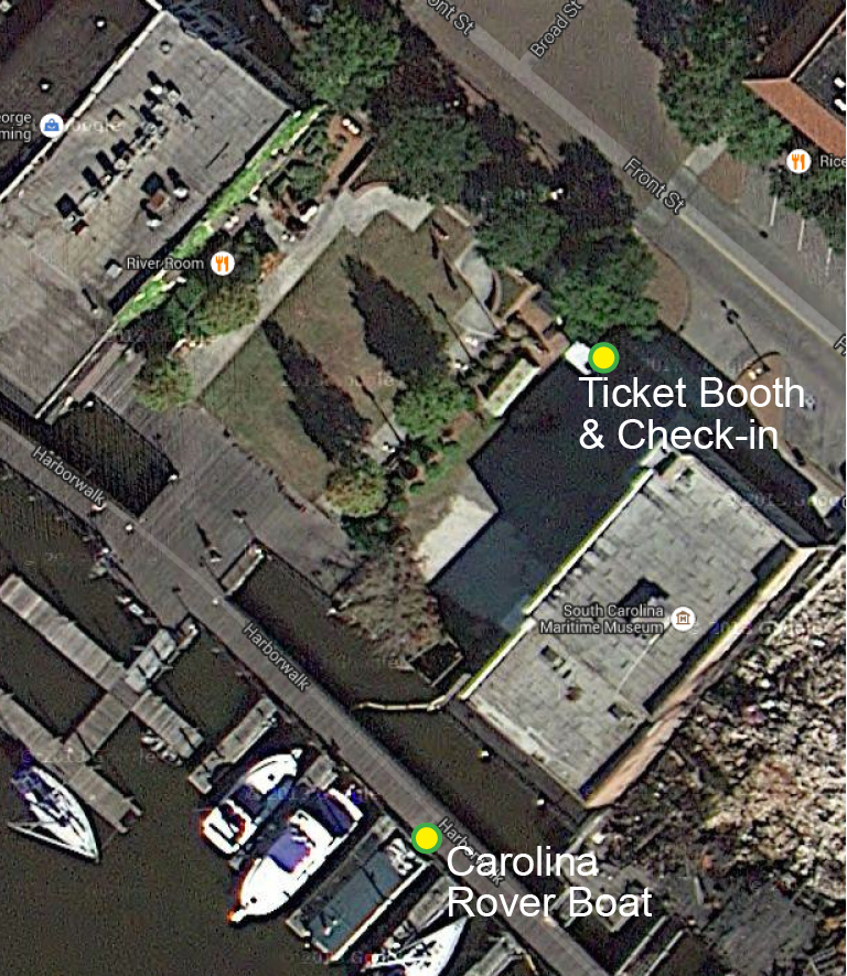 The ticket booth is located at 735 Front Street, Georgetown SC 29440 next to the South Carolina Maritime Museum and Francis Marion Park. The Carolina Rover is docked on the Harborwalk.
