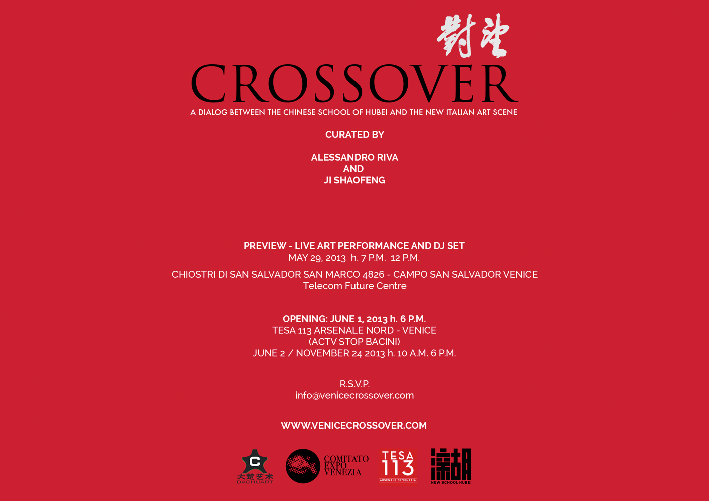 CROSSOVER, A dialog between the Chinese School of Hubei and the new Italian art scene , curated by Alessandro Riva and Ji Shao Feng, Venice Biennale, 2013