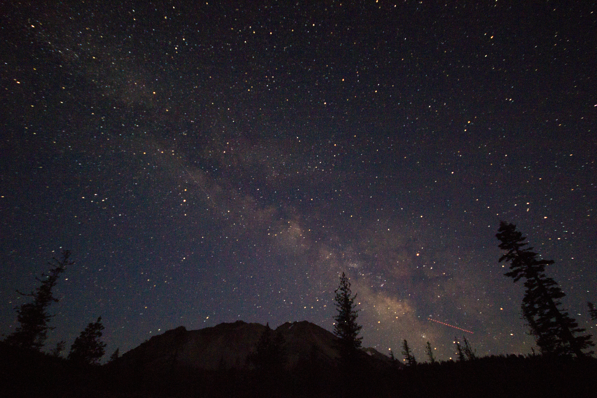 "Night sky photograph I took at ""Chaos Crags"" volcano at Lassen Volcanic National Park"