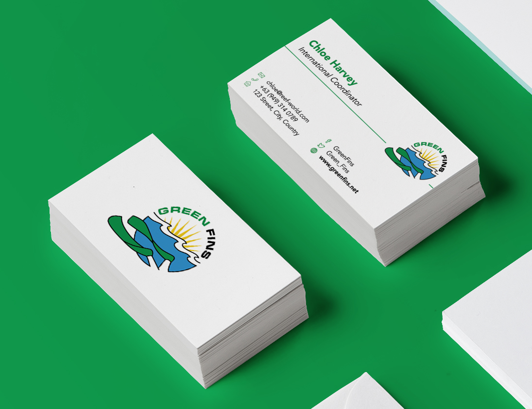The Green Fins business card with the cleaned up logo.