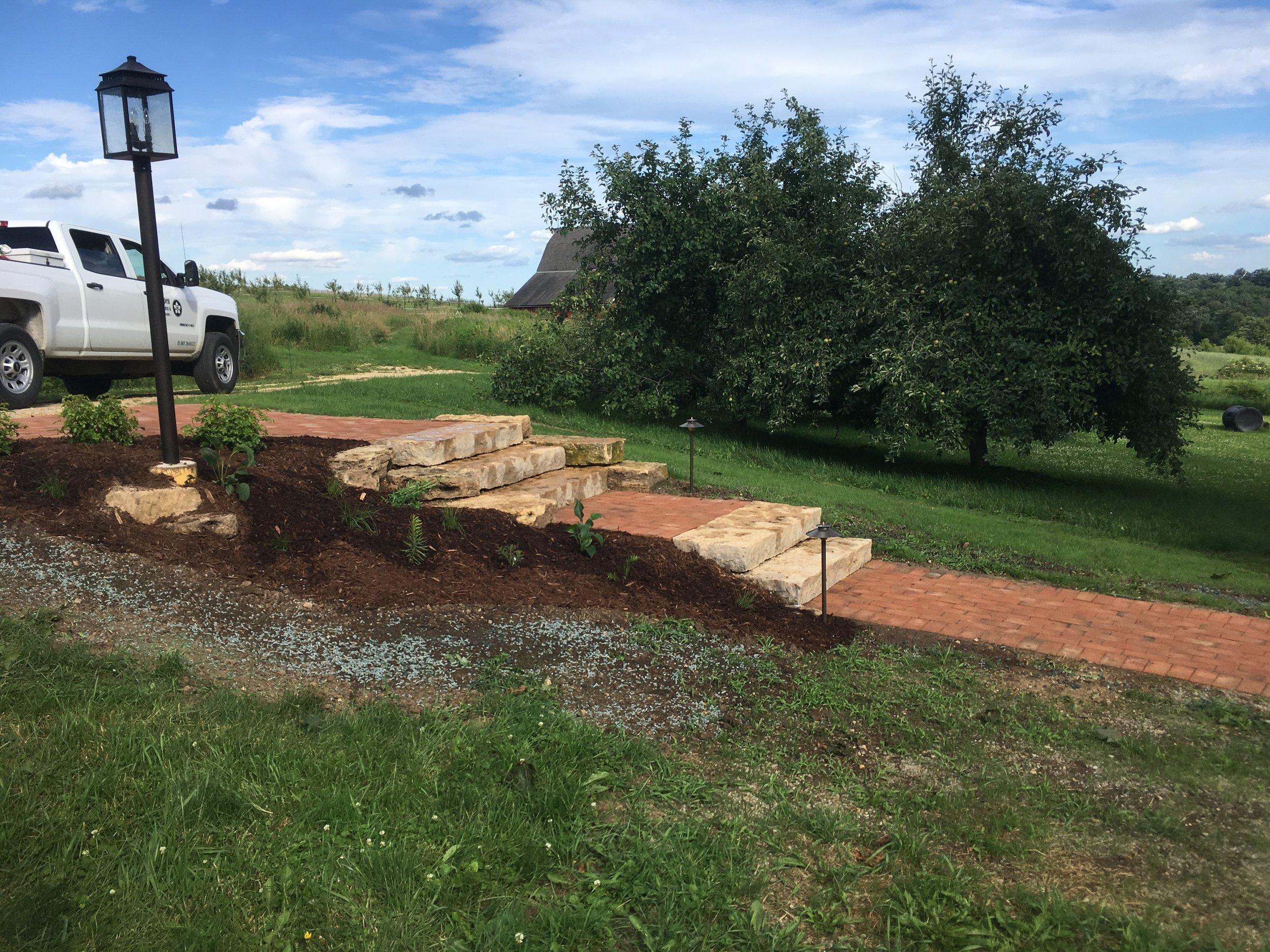 Brick Walkway & Steps - Rural WI Farmhouse