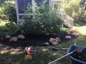 A rain garden in progress