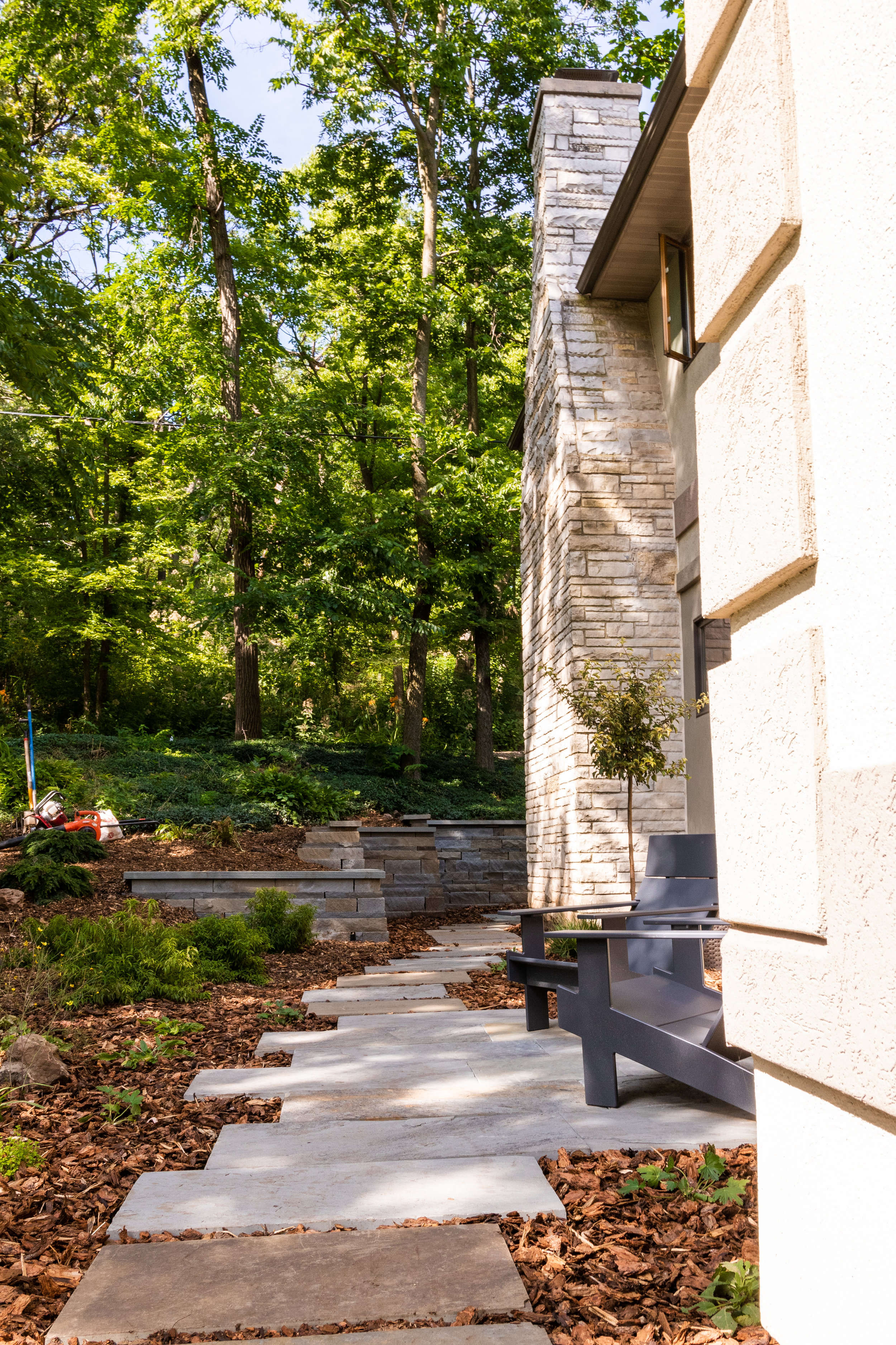 "Bluestone ""Micro-patio"", Walk, & Wall"