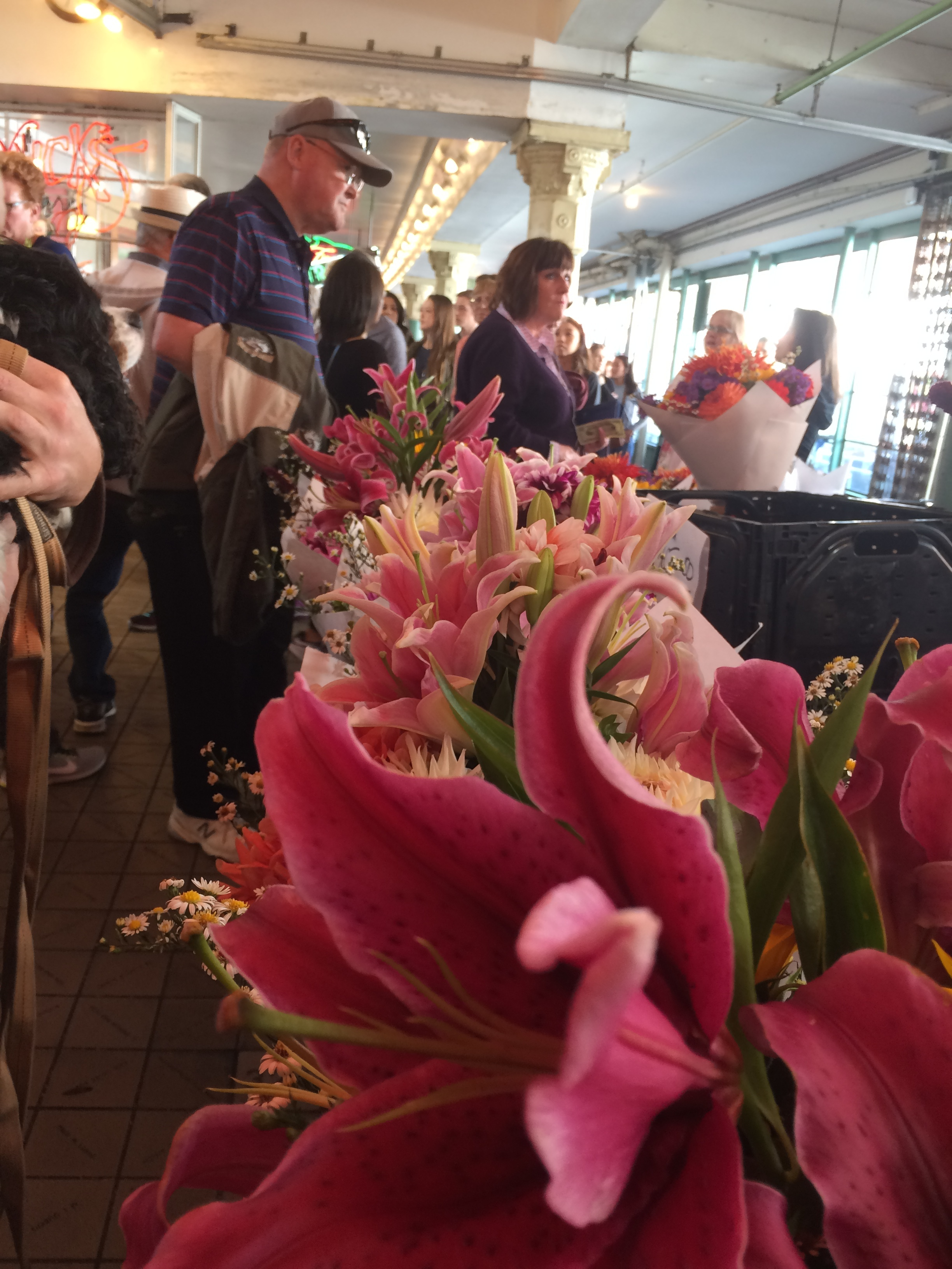 Pike Place in Seattle. I enjoyed the rows and rows of flowers more than the fish.