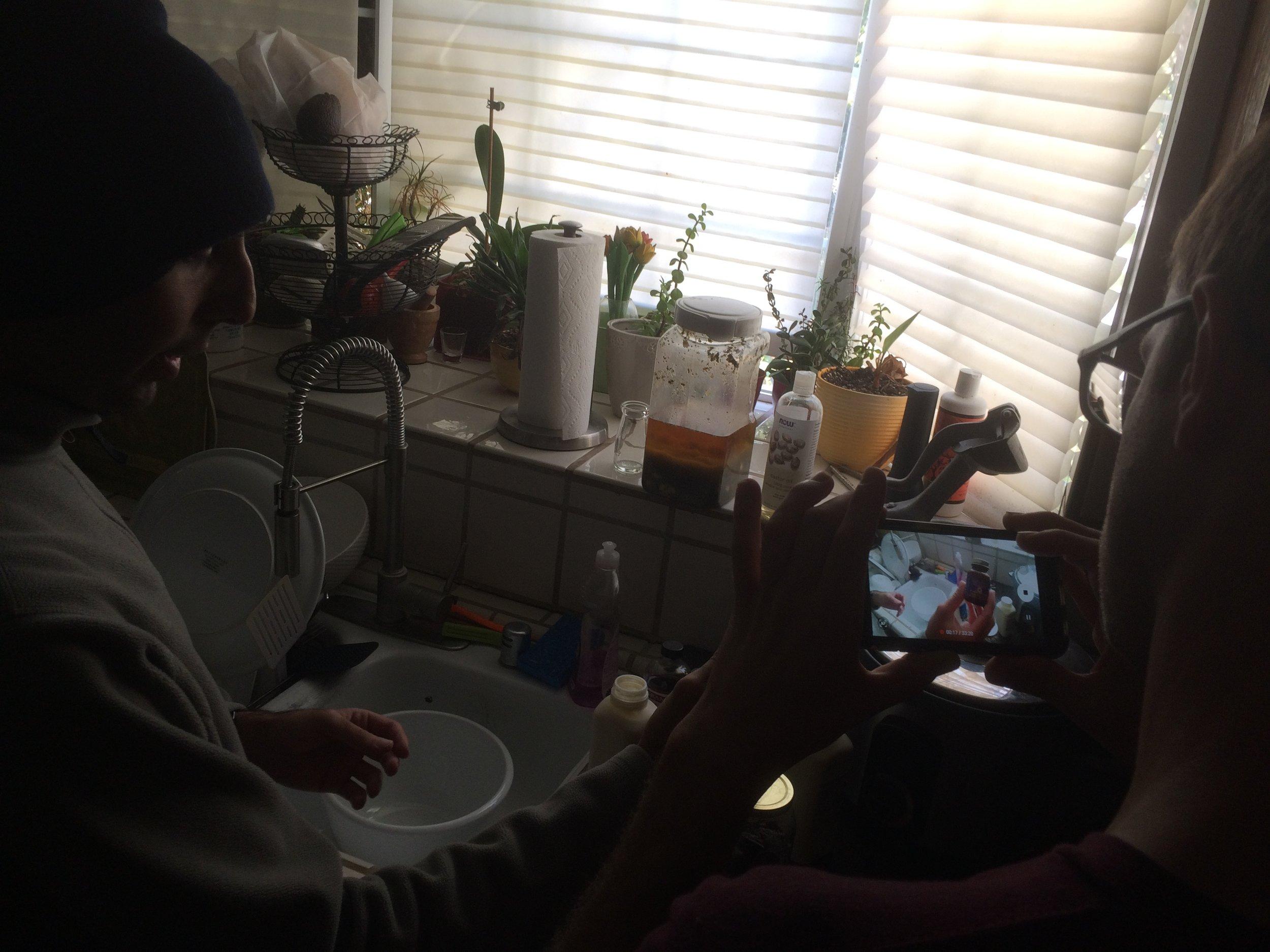 Nari showing us how to make organic whipped cream.