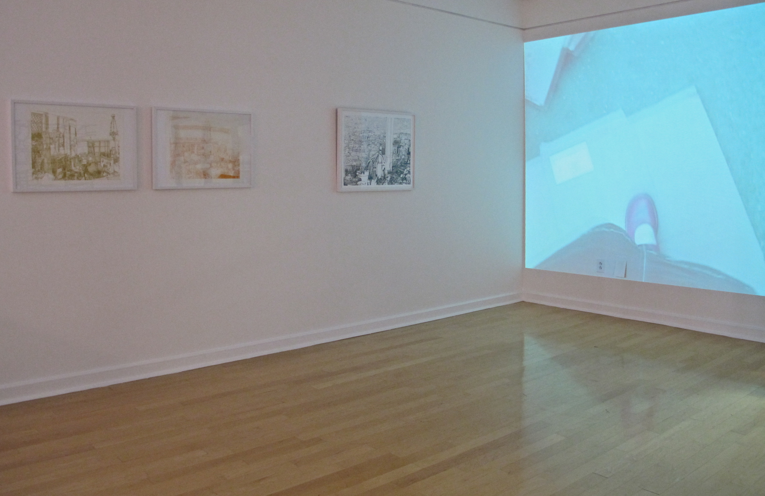 Drawings and Video by Josette Urso, as part of  Taking Place , Gallery 221@HCC.