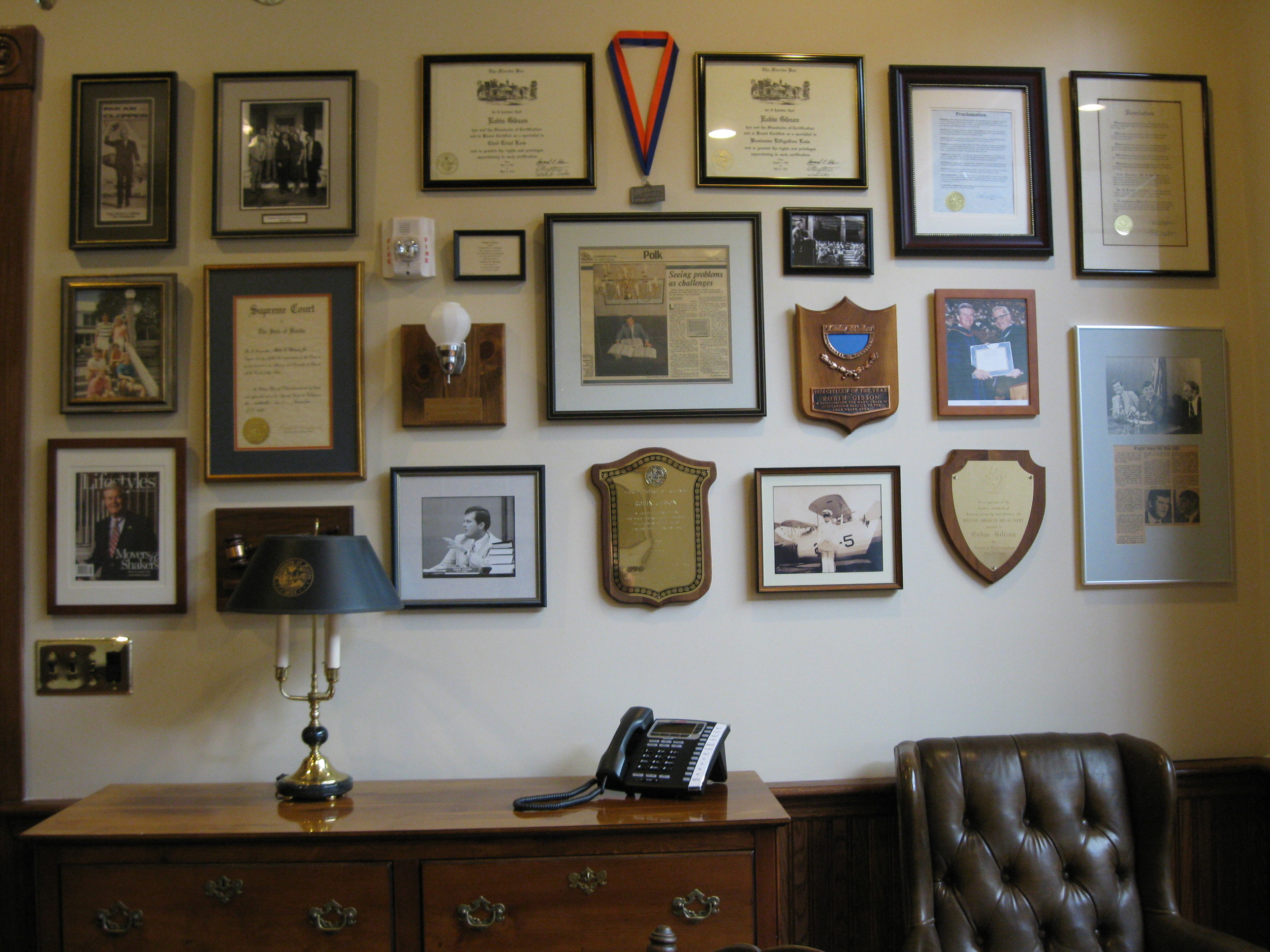 Wall of Credentials and Celebration, created for a business client's new office in central Florida.
