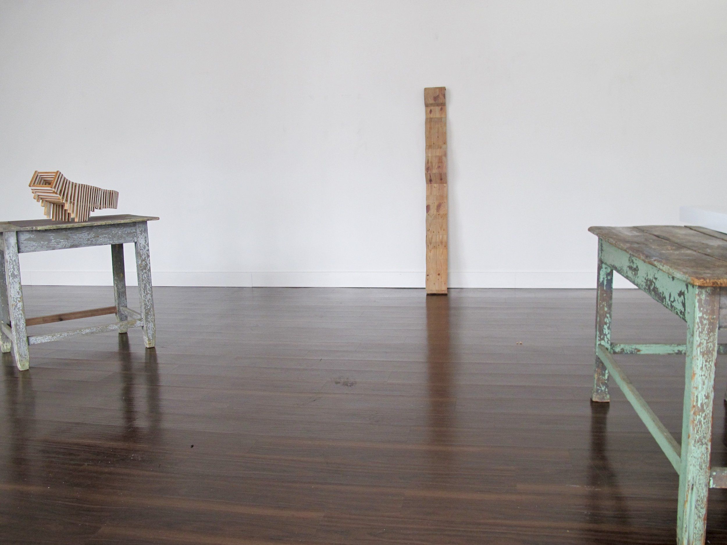 Beginnings of Round Square | wood pieces by Charles Parkhill, tables on loan from George Anderton