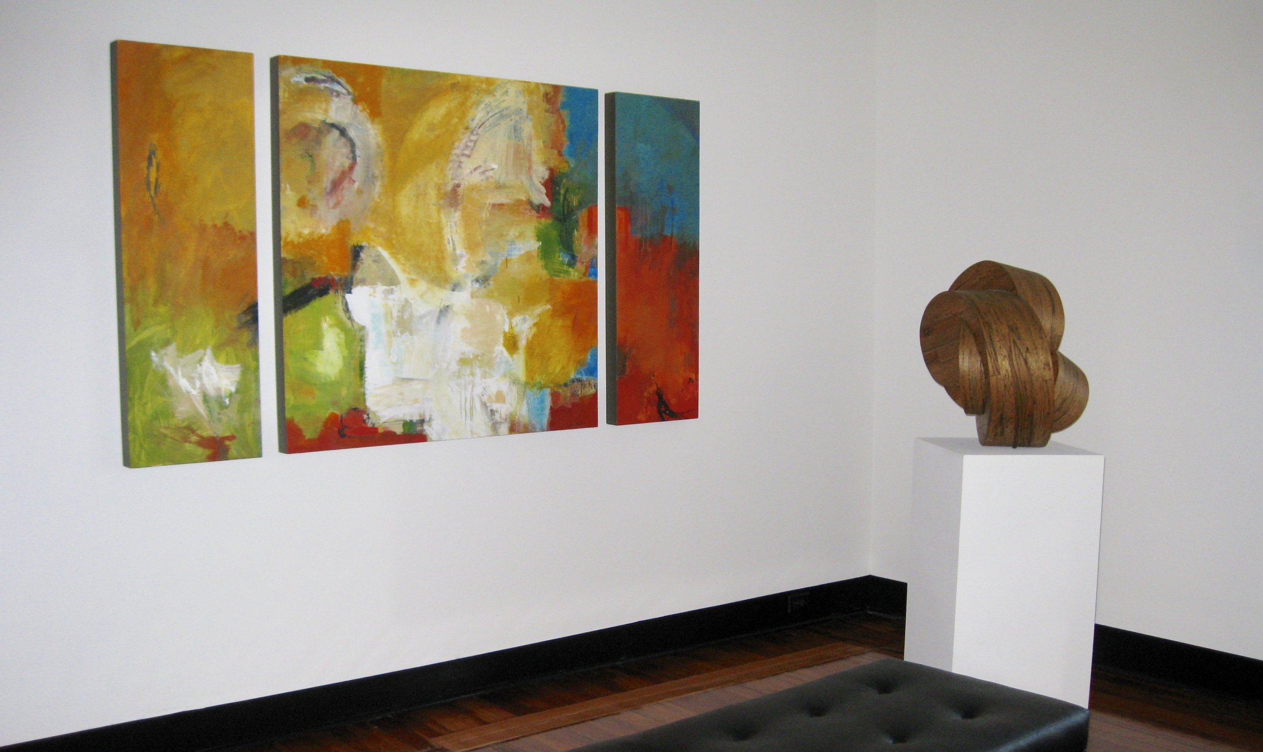 Gator Awakening  triptych by Audrey Phillips,  Juxtus  by Charles Parkhill