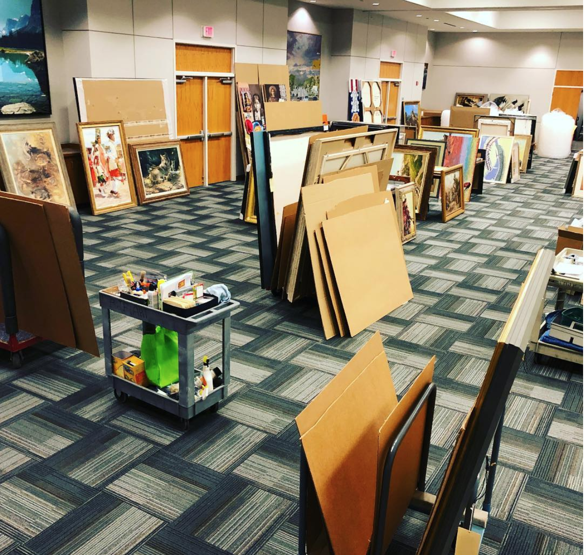 Art packing room for St. Cate Fine Arts, preparing works to travel to the soon-to-be-opened James Museum.