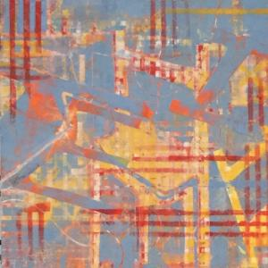 Lynn Foskett | Gingham (#1) | oil, cold wax, collage on panel