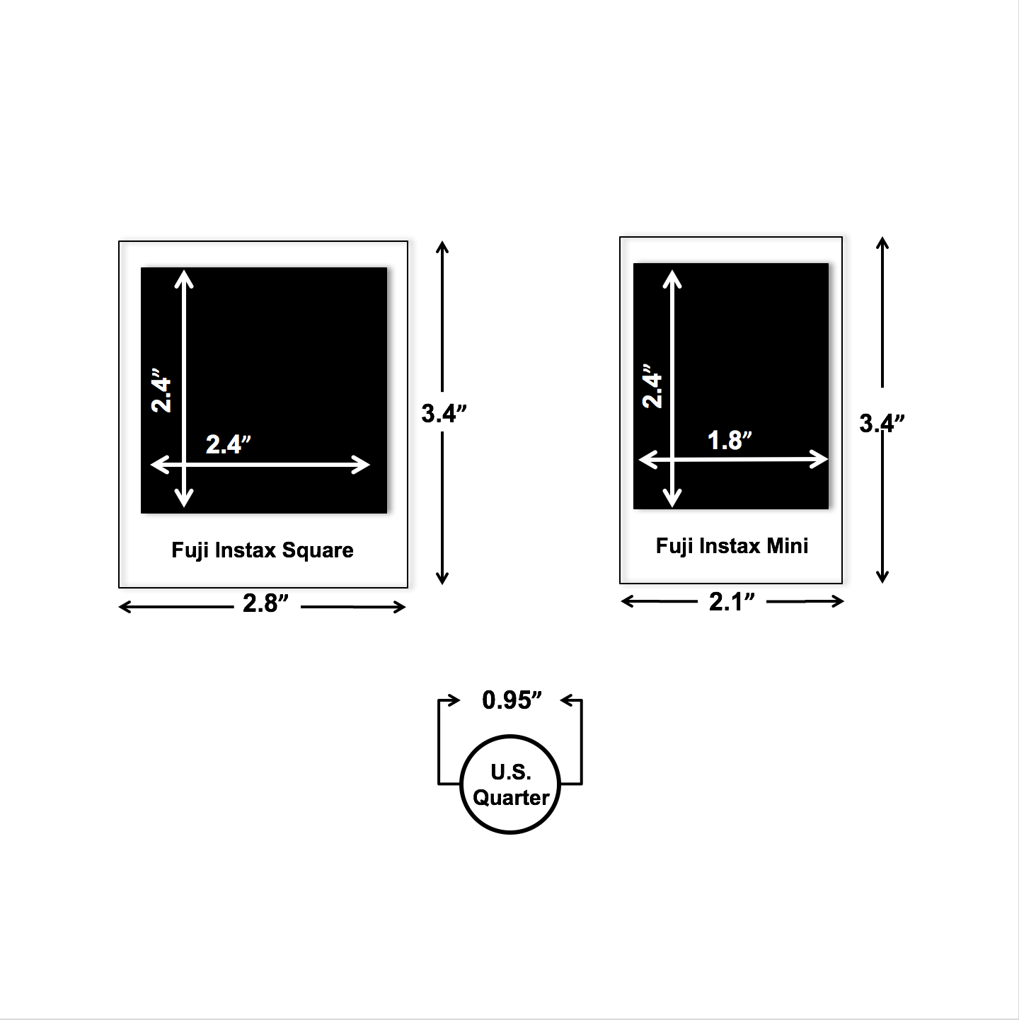 Fuji Instax Photo Size Square vs. Mini.