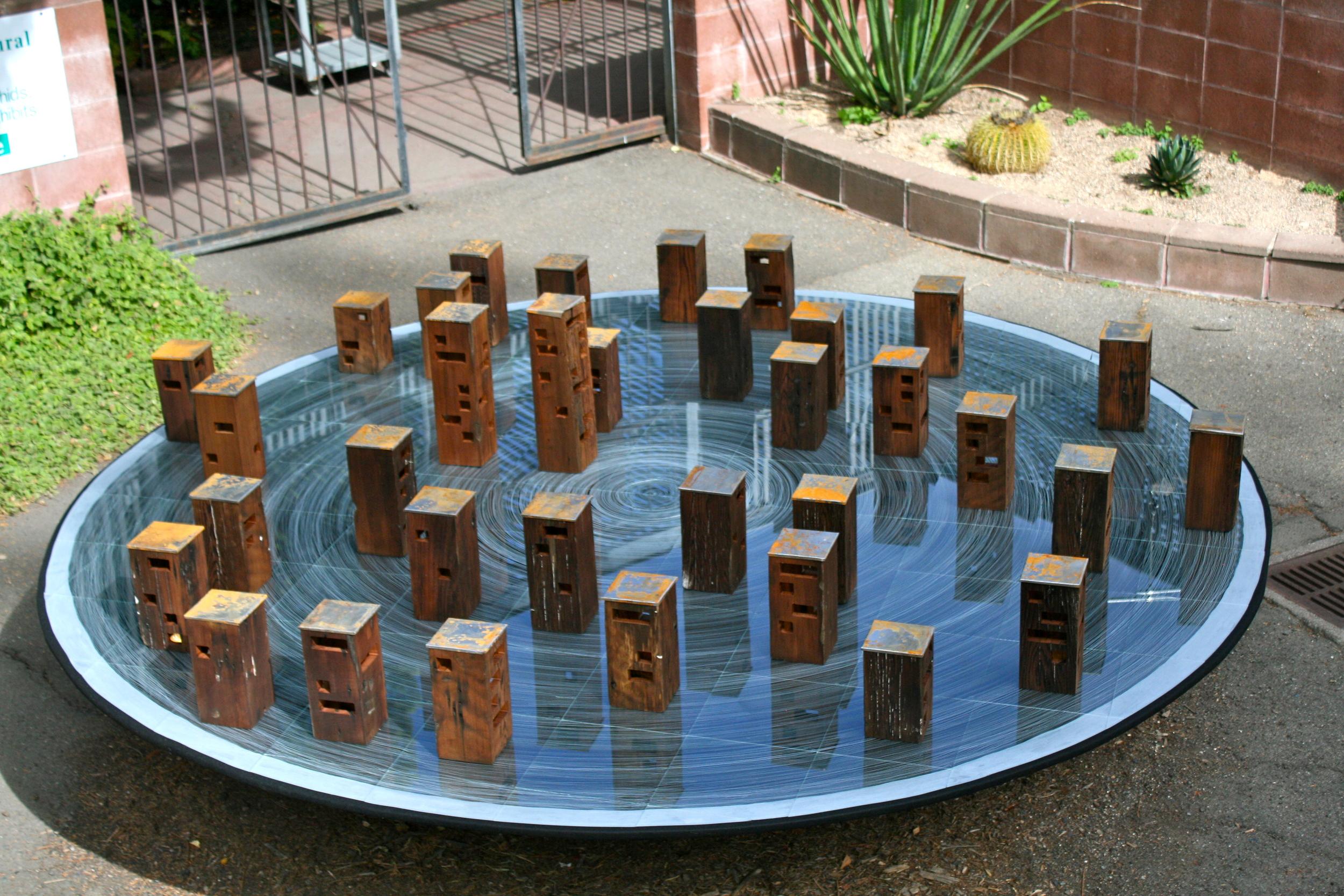 Redwood Blocks Glued Down
