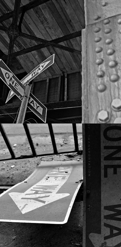 As Above, So Below   One-way sign /   One-way sign  (same sign fallen)