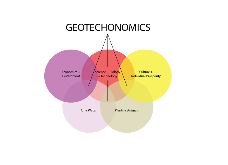 Geotechnomics, is a theoretical academic space for studying and observing the intersection of markets, society, policy, technology, science and ecology.