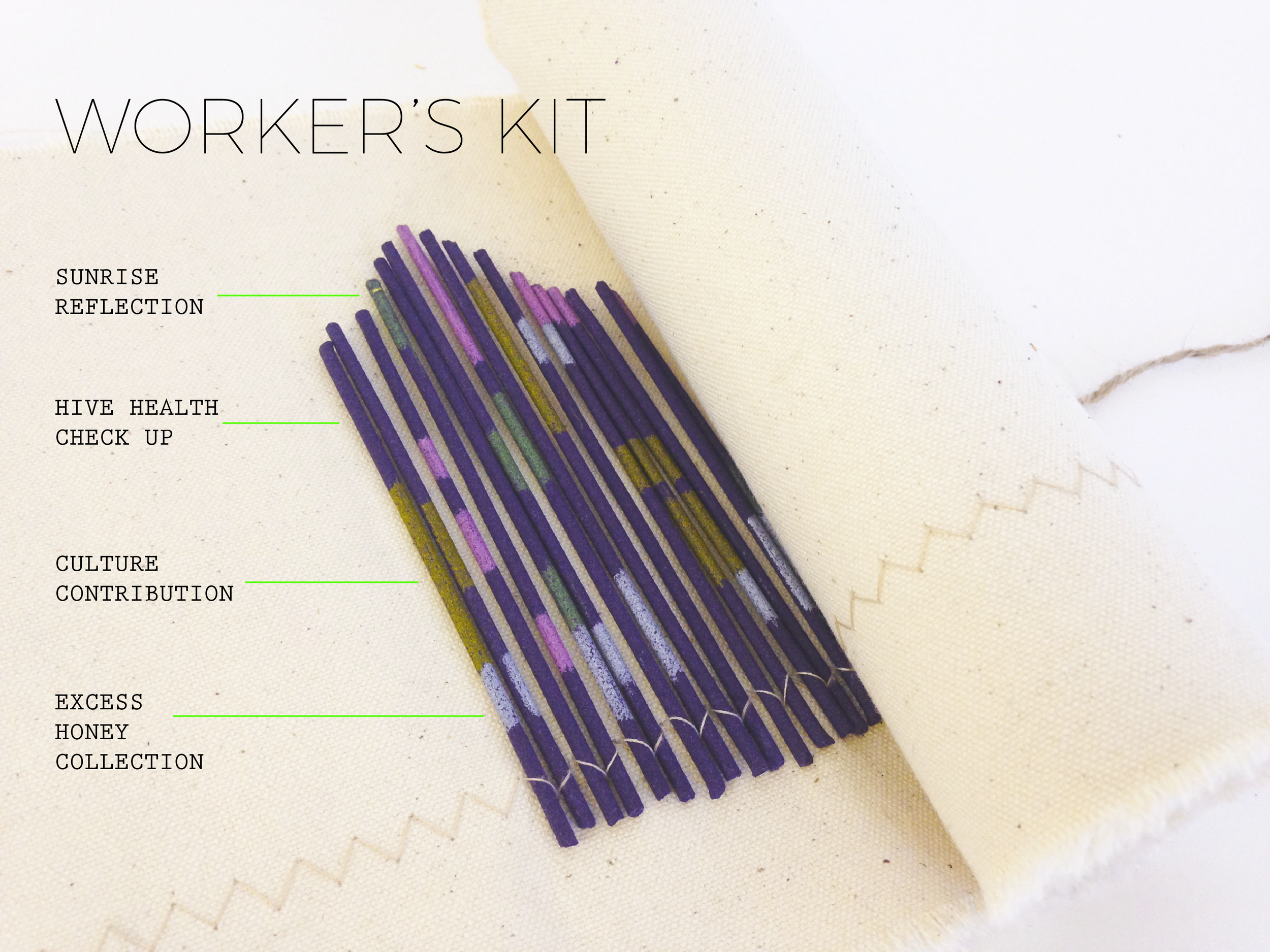 This Worker's Kit provides each employee with a pre-determined, daily work agenda. Workers follow the color codes of each incense stick and plug them into their headwear. Materials used include canvas, cotton string, twine, incense sticks and chalk.