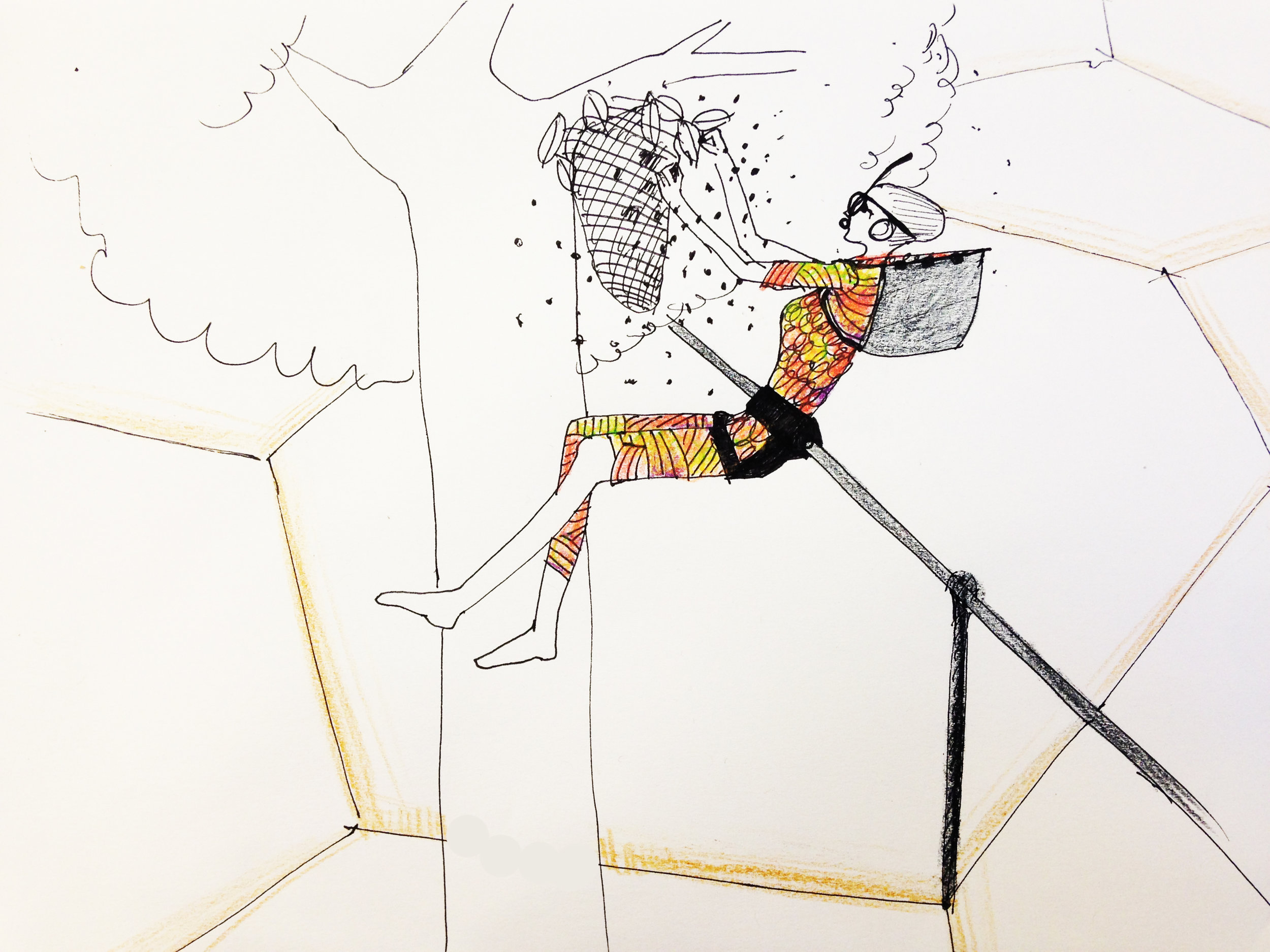 Concept sketch of an employee in field gear, performing maintenace on a hive.
