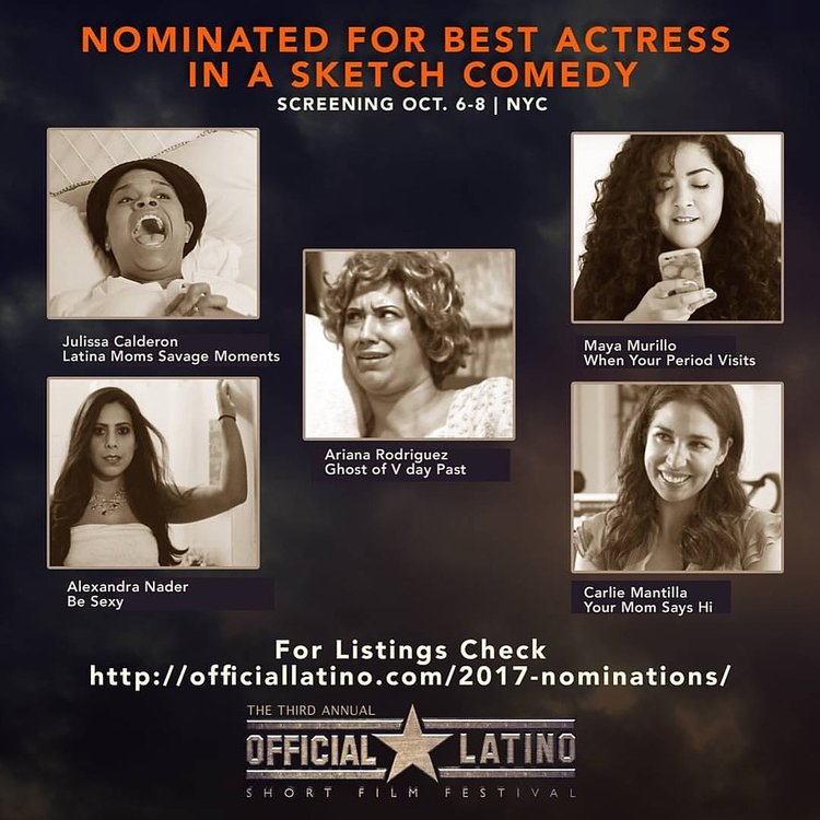 Official Latino  Best Actress  - Thank you to The Official Latino Film Festival for the nomination!