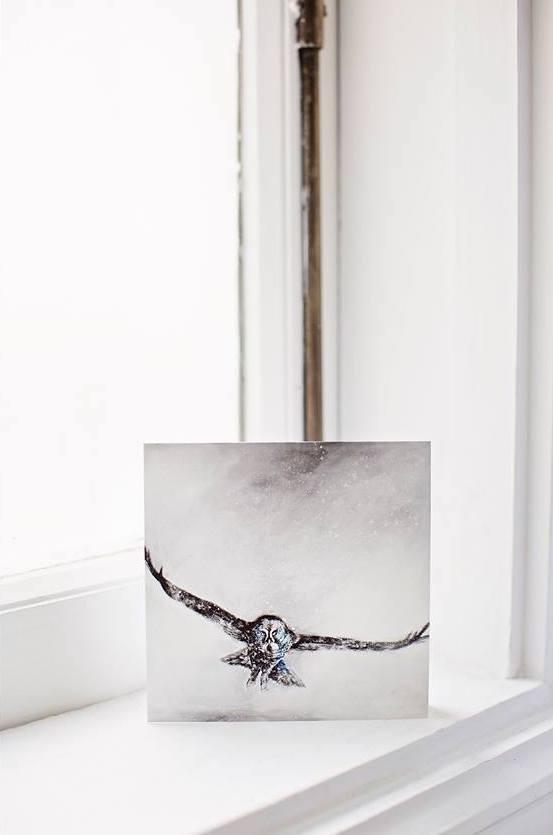 great grey owl mini pint and card