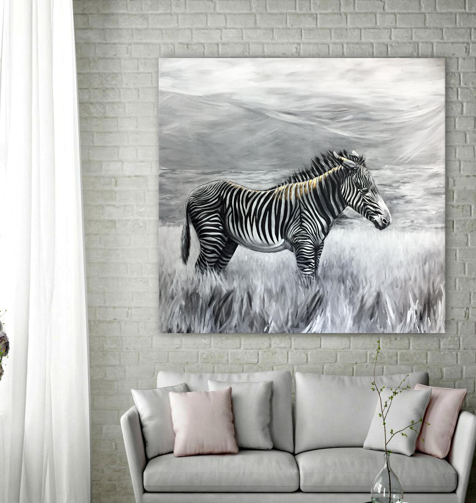 Greyv's Zebra - Acrylic | 48x48 | 24k Gold Leaf |